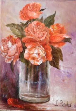 Picturi cu flori Pahar cu trandafiri