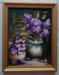 Picturi cu flori Panselute si liliac 1-cu rama
