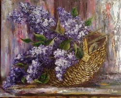 Picturi cu flori Primavara cu liliac