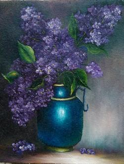 Picturi cu flori vas albastru cu liliac