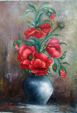 Picturi cu flori vas albastru cu maci