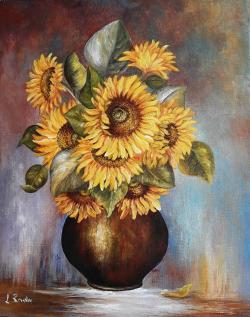 Picturi cu flori vas si floarea soarelui