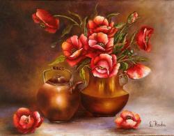 Picturi cu flori Vase de cupru