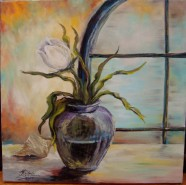 Picturi cu flori Lalea in geam