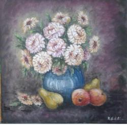 Picturi cu flori Crizanteme, mere si pere