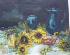 Picturi cu flori Natura statica cu floarea soarelui