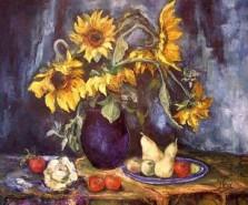 Picturi cu flori Natura statica cu floarea soarelui si fructe