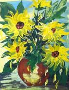 Picturi cu flori Floarea soarelui in vaza