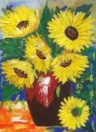 Picturi cu flori Floarea soarelui in vaza 2