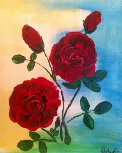 Picturi cu flori Trandafiri sub soare