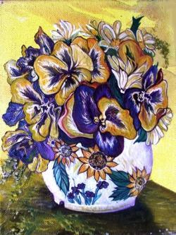 Picturi cu flori PANSIES VASE