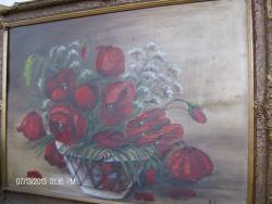 Picturi cu flori NATURA MOARTA  FLORI MACI