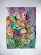 Picturi acuarela Fluturi si flori