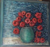 Picturi cu flori Un strop de rosu - maci