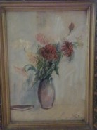 Picturi cu flori Vaza si carte