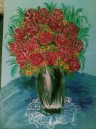 Picturi cu flori Trandafiri rosii-rozalii