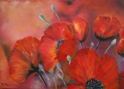 Picturi cu flori Feerie in rosu
