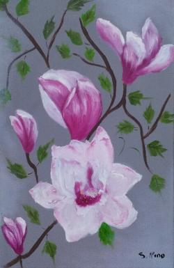 Picturi cu flori Magnolia roz