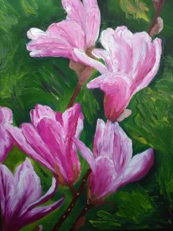 Picturi cu flori Roz si verde