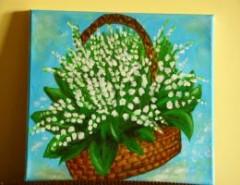 Picturi cu flori Cos cu lacrimioare