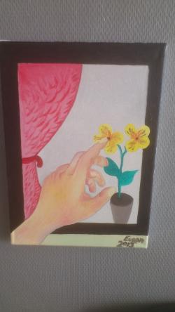 Picturi cu flori la geam o floare