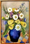 Picturi cu flori Flori in cana albastra