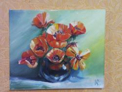 Picturi cu flori Vaza neagra cu maci