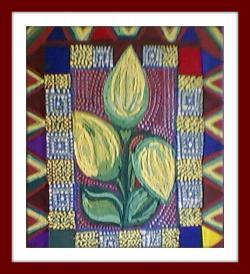 Picturi cu flori Lalele galbene cu motive populare