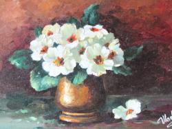 Picturi cu flori PRIMULE ALBE.