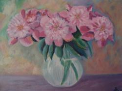 Picturi cu flori Bujori roz