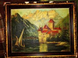 Picturi cu peisaje Castel ma marginea apei de munte