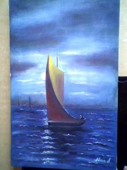 Picturi cu peisaje noaptea la pescuit