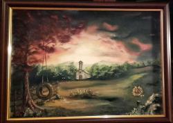 Picturi cu peisaje apus cu biserica