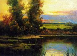 Picturi cu peisaje amurg in delta