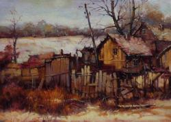 Picturi cu peisaje iarna in sat.