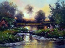 Picturi cu peisaje rasarit in delta.