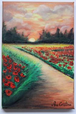 Picturi cu peisaje Camp cu maci la apus