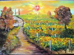 Picturi cu peisaje Asfintit in vie