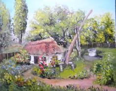 Picturi cu peisaje Casa cu fantana