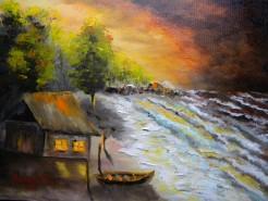 Picturi cu peisaje Casa de pescari