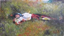 Picturi cu peisaje Fata culcata in iarba