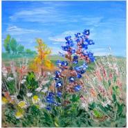 Picturi cu peisaje Floare albastra