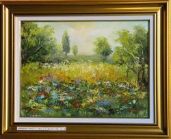 Picturi cu peisaje GRAU SI FLORI DE CAMP