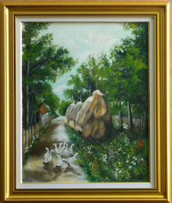 Picturi cu peisaje Vara pe ulita