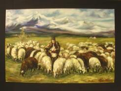 Picturi cu peisaje Ciobanas cu oi