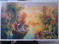 Picturi cu peisaje Pescari in Delta