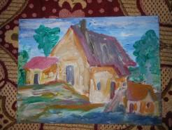 Picturi cu peisaje Casa de langa lac