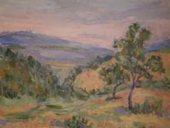 Picturi cu peisaje Amurg pe deal