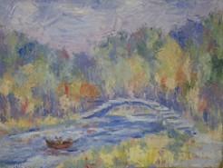 Picturi cu peisaje Umbre albastre in parc