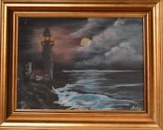 Picturi cu peisaje Far noaptea